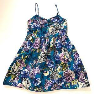 xhilaration Turquoise Floral Mini Sundress